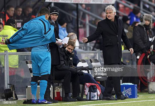 Wilfred Bouma of PSV, assistant trainer Phillip Cocu of PSV,c oach Fred Rutten of PSV during the Dutch Eredivisie match between SC Heracles Almelo...