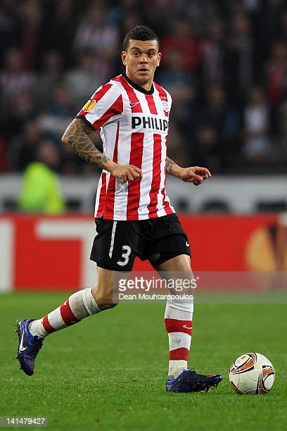 Wilfred Bouma of PSV in action during the UEFA Europa League round of 16 second leg match between PSV Eindhoven and Valencia at Philips Stadion on...