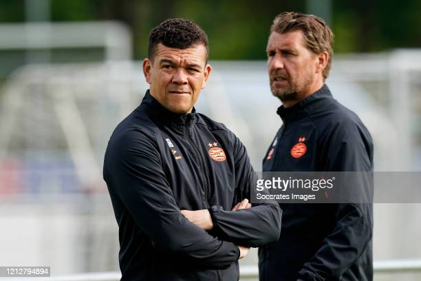Wilfred Bouma of PSV U23, Edwin de Wijs of PSV U23 during the Training PSV U23 at the De Herdgang on May 12, 2020 in Eindhoven Netherlands