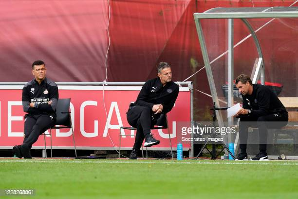Wilfred Bouma of PSV U23, Peter Uneken of PSV U23, Edwin de Wijs of PSV U23 during the Dutch Keuken Kampioen Divisie match between PSV U23 v...
