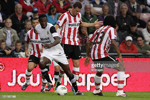 Wilfred Bouma of PSVGeoffrey Castillion of RKC WaalwijkErik Pieters of PSVFunso Ojo of PSV during the Eredivisie match between PSV Eindhoven and RKC...