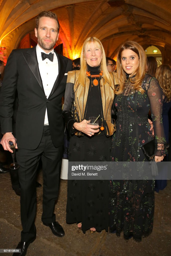 Wilfred Frost, Lady Carina Fitzalan-Howard and Princess, Beatrice of York attend the British Heart Foundations Beating Hearts Ball at The Guildhall on February 20, 2018 in London, England.