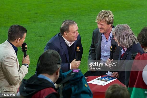 Wilfred Genee Coach Dick Advocaat Of Az Wim Kieft Johan Derksen During The Europa League Match