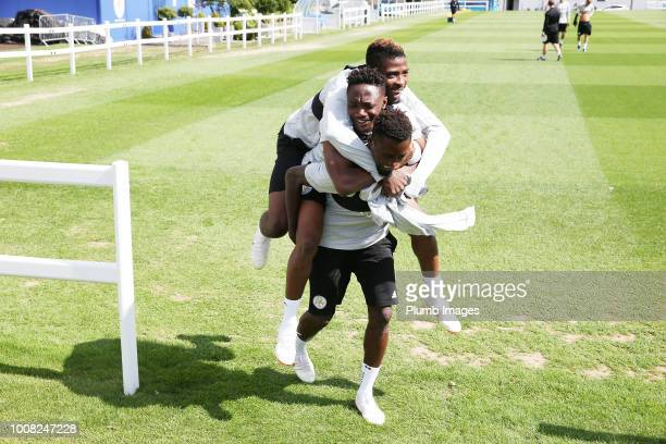 Wilfred Ndidi Ahmed Musa and Kelechi Ihenacho during the Leicester City training session at Belvoir Drive Training Complex on July 31 2018 in...