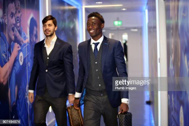 Wilfred Ndidi and Aleksander Dragovic ahead of the Premier League match between Leicester City and Watford at King Power Stadium on January 20th 2018...