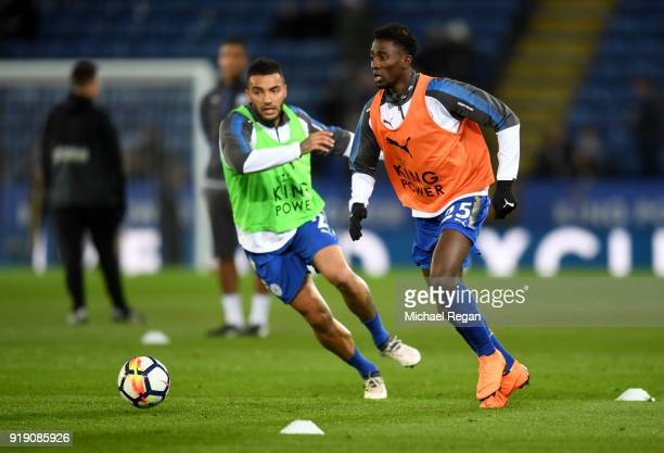 Wilfred Ndidi and Danny Simpson of Leicester warmup prior to the Emirates FA Cup Fifth Round match between Leicester City and Sheffield United at The...