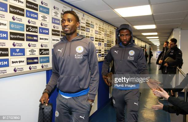 Wilfred Ndidi and Kelechi Iheanacho of Leicester City arrive at Goodison Park ahead of the Premier League match between Everton and Leicester City at...