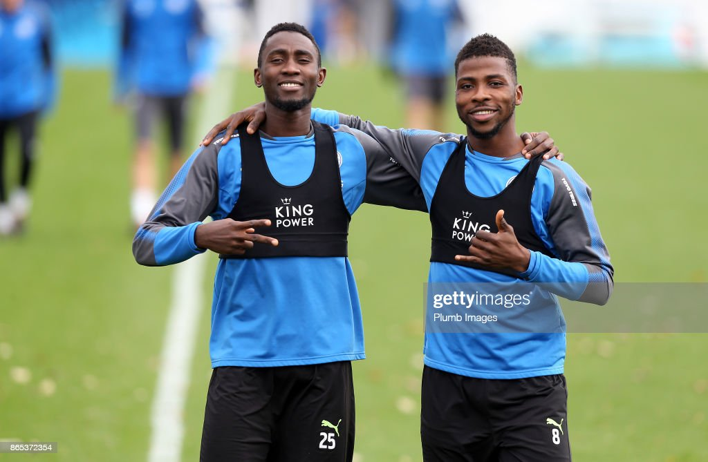 Wilfred Ndidi and Kelechi Ihenacho during the Leicester City training session at Belvoir Drive Training Complex on October 23 , 2017 in Leicester, United Kingdom.
