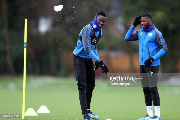 Wilfred Ndidi and Kelechi Ihenacho during the Leicester City training session at Belvoir Drive Training Complex on December 29th 2017 in Leicester...