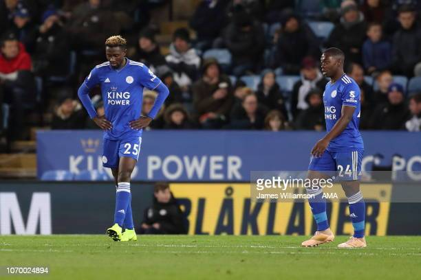 Wilfred Ndidi and Nampalys Mendy of Leicester City dejected after Dele Alli of Tottenham scores a goal to make it 20 during the Premier League match...