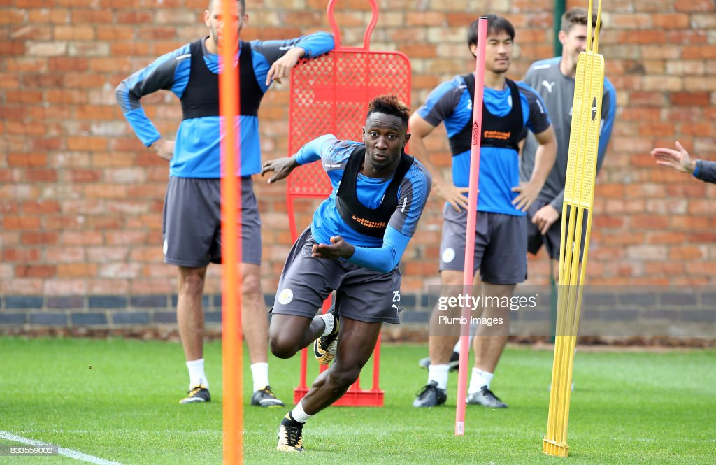 Wilfred Ndidi during the Leicester City training session at Belvoir Drive Training Complex on August 17 , 2017 in Leicester, United Kingdom.