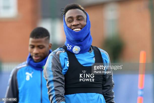 Wilfred Ndidi during the Leicester City training session at Belvoir Drive Training Complex on January 04 2018 in Leicester United Kingdom