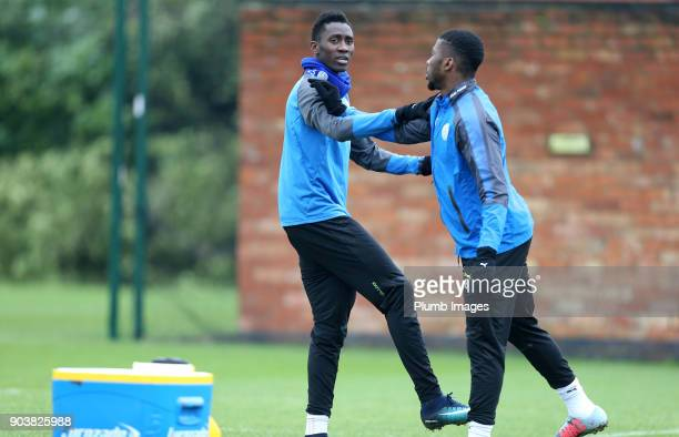 Wilfred Ndidi during the Leicester City training session at Belvoir Drive Training Complex on January 11th 2018 in Leicester United Kingdom