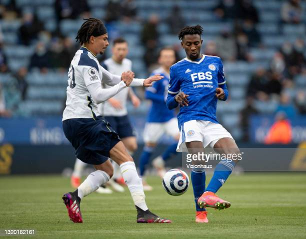 Wilfred Ndidi of Leicester City and Dele Alli of Tottenham Hotspur in action during the Premier League match between Leicester City and Tottenham...