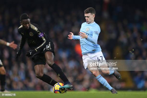 Wilfred Ndidi of Leicester City and Phil Foden of Manchester City during the Premier League match between Manchester City and Leicester City at...