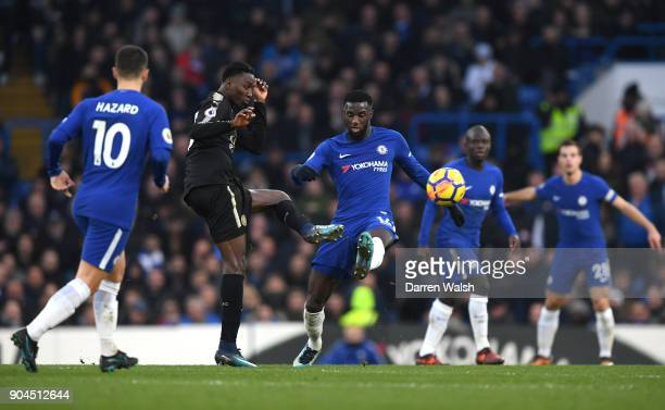 Wilfred Ndidi of Leicester City and Tiemoue Bakayoko of Chelsea battle for possesion during the Premier League match between Chelsea and Leicester...