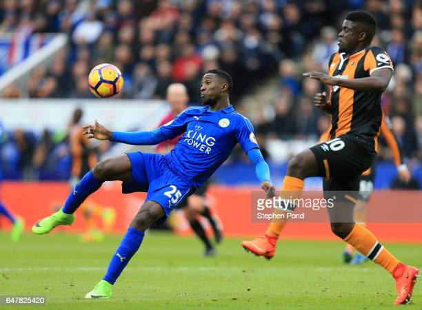 Wilfred Ndidi of Leicester City attempts a volley during the Premier League match between Leicester City and Hull City at The King Power Stadium on...
