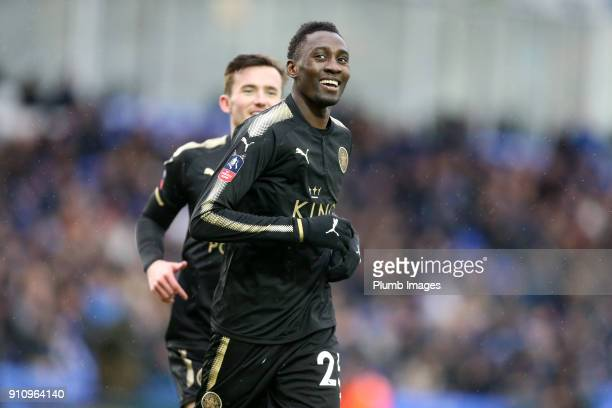 Wilfred Ndidi of Leicester City celebrates after scoring to make it 15 during The Emirates FA Cup Fourth Round tie between Peterborough United and...