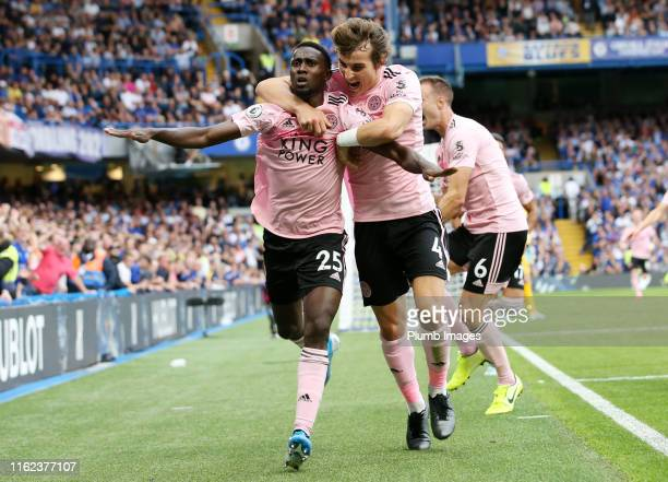 Wilfred Ndidi of Leicester City celebrates with Caglar Soyuncu of Leicester City after scoring to make it 11 during the Premier League match between...
