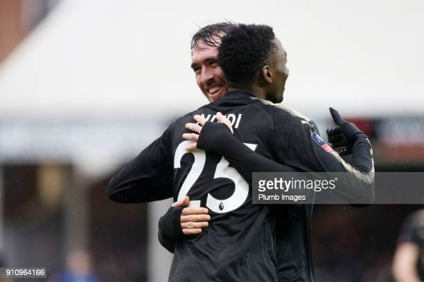 Wilfred Ndidi of Leicester City celebrates with Christian Fuchs of Leicester City after scoring to make it 15 during The Emirates FA Cup Fourth Round...