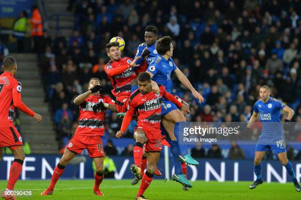 Wilfred Ndidi of Leicester City climbs highest to win the header during the Premier League match between Leicester City and Huddersfield at King...
