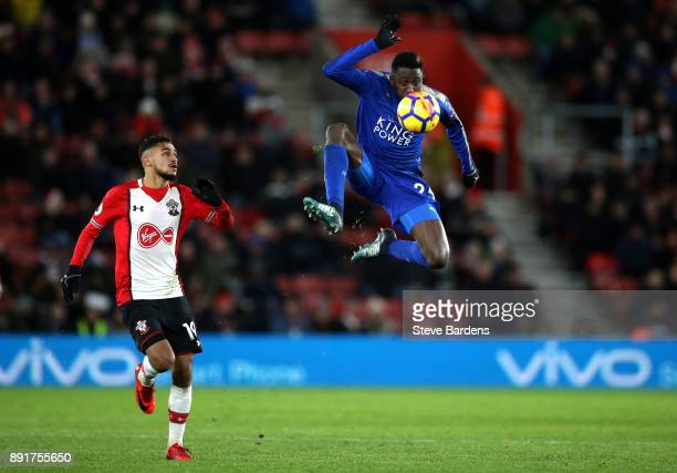 Wilfred Ndidi of Leicester City controls the ball in mid air during the Premier League match between Southampton and Leicester City at St Mary's...