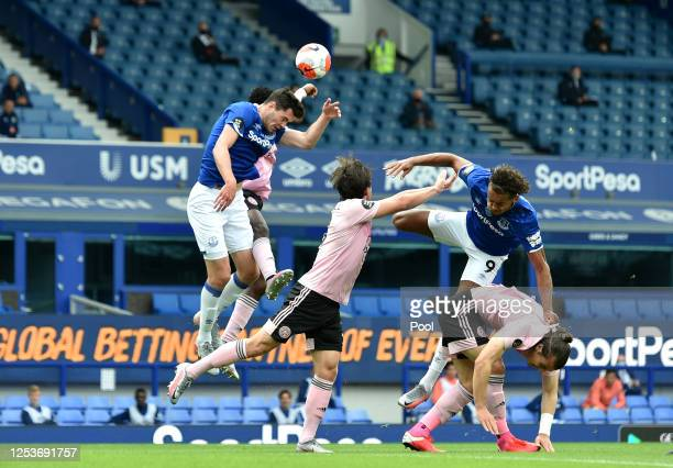 Wilfred Ndidi of Leicester City has a hand ball foul leading to a penalty for Everton during the Premier League match between Everton FC and...