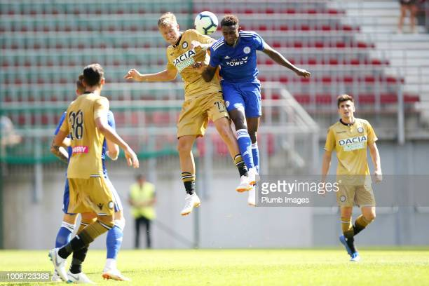 Wilfred Ndidi of Leicester City in action with Antonin Barak of Udinese during the preseason friendly match between Leicester City and Udinese at...