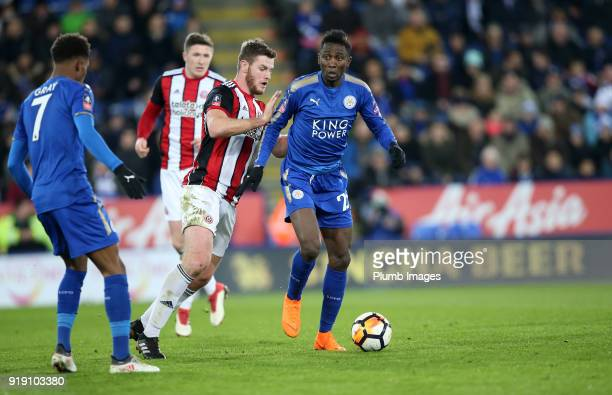 Wilfred Ndidi of Leicester City in action with Jack O'Connell of Sheffield United during the FA Cup fifth round match between Leicester City and...