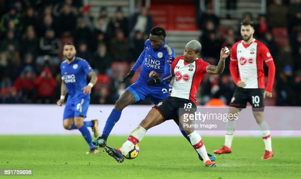 Wilfred Ndidi of Leicester City in action with Mario Lemina of Southampton during the Premier League match between Southampton and Leicester City at...