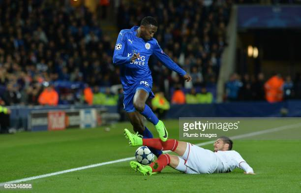 Wilfred Ndidi of Leicester City in action with Pablo Sarabia of Sevilla during the UEFA Champions League Round of 16 match between Leicester City and...