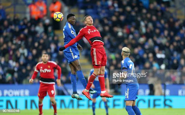 Wilfred Ndidi of Leicester City in action with Richarlison of Watford during the Premier League match between Leicester City and Watford at The King...