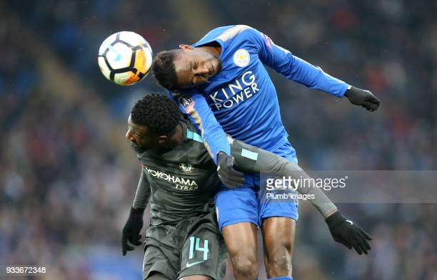 Wilfred Ndidi of Leicester City in action with Tiemoue Bakayoko of Chelsea during The Emirates FA Cup Quarter Final tie between Leicester City and...