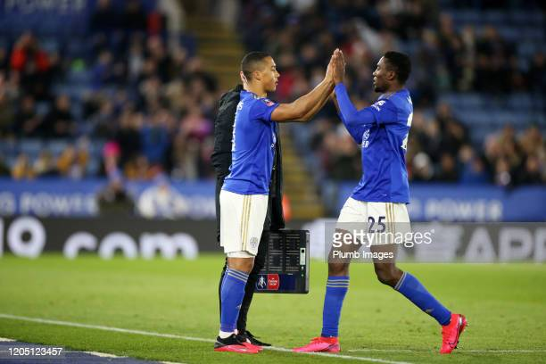 Wilfred Ndidi of Leicester City is replaced by Youri Tielemans of Leicester City during the FA Cup Fifth Round match between Leicester City and...
