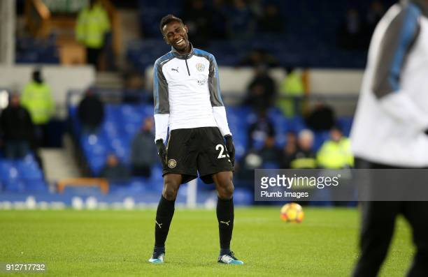 Wilfred Ndidi of Leicester City jokes around during the warm up at Goodison Park ahead of the Premier League match between Everton and Leicester City...