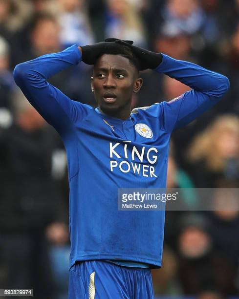 Wilfred Ndidi of Leicester City reacts to being sent off during the Premier League match between Leicester City and Crystal Palace at The King Power...
