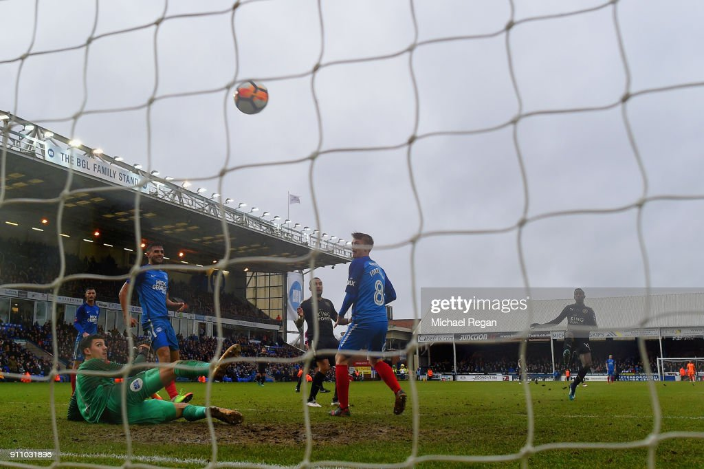 Wilfred Ndidi of Leicester City scores his side's fifth goal during The Emirates FA Cup Fourth Round match between Peterborough United and Leicester City at ABAX Stadium on January 27, 2018 in Peterborough, England