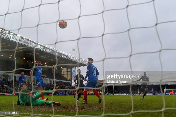 Wilfred Ndidi of Leicester City scores his side's fifth goal during The Emirates FA Cup Fourth Round match between Peterborough United and Leicester...