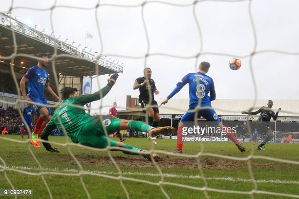 Wilfred Ndidi of Leicester City scores their 5th goal during the FA Cup 4th Round match between Peterborough United and Leicester City at ABAX...