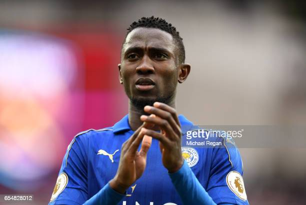 Wilfred Ndidi of Leicester City shows appreciation to the fans after the Premier League match between West Ham United and Leicester City at London...