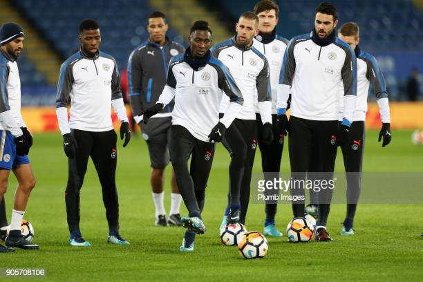Wilfred Ndidi of Leicester City warms up at King Power Stadium ahead of The Emirates FA Cup Third Round Replay between Leicester City and Fleetwood...