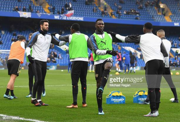 Wilfred Ndidi of Leicester City warms up prior to the Premier League match between Chelsea and Leicester City at Stamford Bridge on January 13 2018...