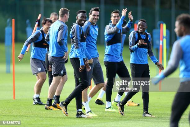 Wilfred Ndidi Vicente Iborra and Ahmed Musa during the Leicester City training session at Belvoir Drive Training Complex on September 14 2017 in...