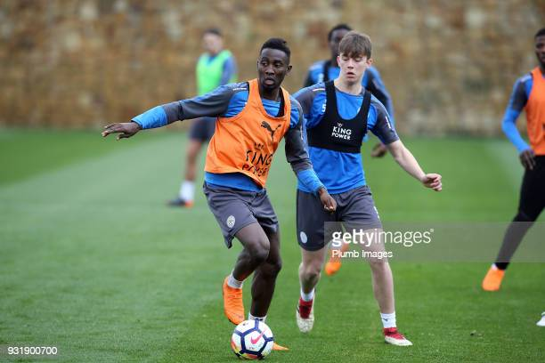 Wilfred Ndidi with Callum Wright during the Leicester City training session at the Marbella Soccer Camp Complex on March 14 2018 in Marbella Spain