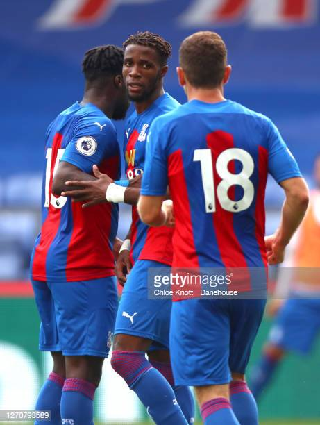 Wilfred Zaha of Crystal Palace celebrates scoring his teams first goalduring the Pre Season Friendly match between Crystal Palace and Brondby IF at...