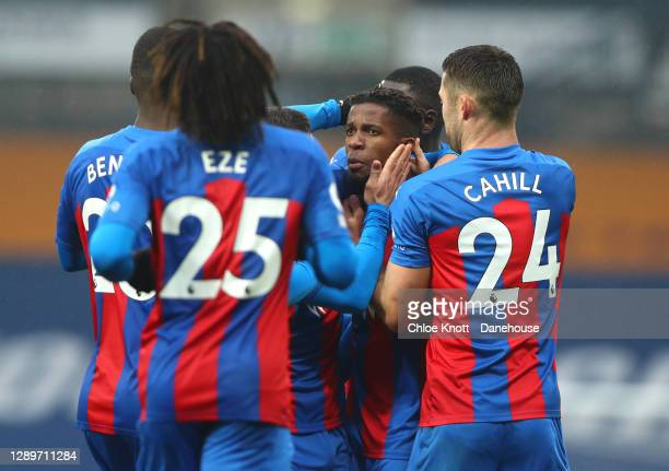Wilfred Zaha of Crystal Palace celebrates scoring his teams second goal during the Premier League match between West Bromwich Albion and Crystal...