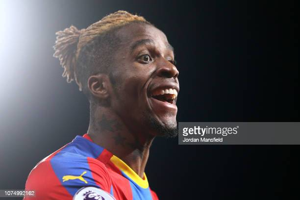 Wilfred Zaha of Crystal Palace reacts during the Premier League match between Crystal Palace and Cardiff City at Selhurst Park on December 26 2018 in...