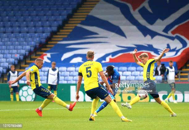 Wilfred Zaha of Crystal Palace scores his teams first goal during the Pre Season Friendly match between Crystal Palace and Brondby IF at Selhurst...