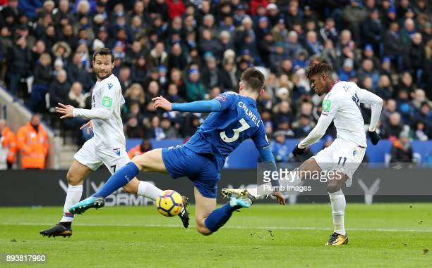 Wilfred Zaha of Crystal Palace scores to make it 0-2 during the Premier League match between Leicester City and Crystal Palace at King Power Stadium...