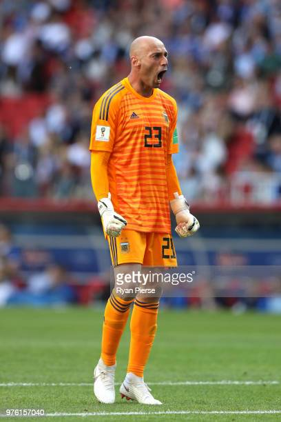 Wilfredo Caballero of Argentina celebrates after his team's first goal during the 2018 FIFA World Cup Russia group D match between Argentina and...